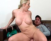 Blonde stepmom eager to fuck her stepson
