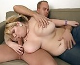 Chubby blonde BBW with huge breasts picks up him for sex