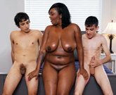 Ebony mom with huge boobs having fun with stepson and his friend