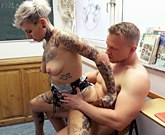 Hot tattooed MILF fucks a nerd which she has been longing for a long time