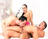 Kinky babe Mea Melone enjoys trio with analfucked bisexual muscle hunks