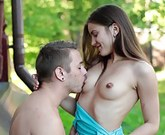 Long haired brunette teen babe Evelina Darling giving head and getting hairy pussy fucked well outdoors