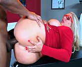 Mature busty blonde Karen Fisher is fucked by a Big Black Cock