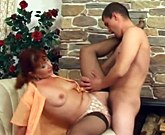 Redhead maid and guy in porn action