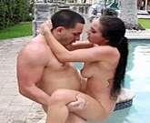 Skinny teen with big tits Cyrstal Rae has sex outdoors by the pool