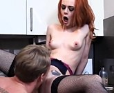 Hot redhead Ella Hughes fucks in the kitchen