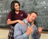 Horny young girl Lexi Diamond getting her tight pussy fucked hard in the classroom