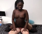 Hot black girl gets big white dick