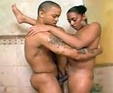 Soft skinned ebony hard fuck in the bathroom