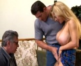 Beautiful busty blonde gets fucked in front of an old