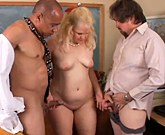 Cute and cuddly chubby older blond enjoys a hardcore threesome