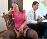 Sexy Milf with big tits fucking in black stockings and pink heels
