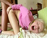 Young blonde girl with pigtails wake up moms young lover to get fuck