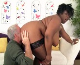 Big boobed black plumper Marliese Morgan gets her tits and ass licked good