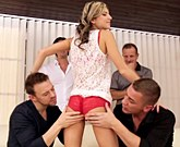 Tiny Russian Gina Gerson fucked hard from four euro cocks