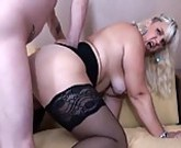 Chubby blonde with big tits and her younger lover