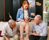 Young slim redhead Dolly Little fucks with old cock