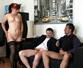 Grandma Friends – Mature office bitch enjoys two cocks