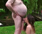 Old man and young girl fucking outdoors
