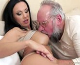 Lovely brunette Samantha Crown loves older guys