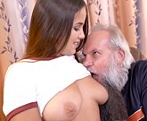 Young busty girl Olivia Nice fucks with old man