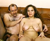 Young busty girl with hairy pussy gets anal sex from an older man