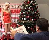 Young russian girl Lola Taylor and horny older man fucking at Christmas