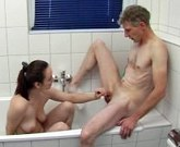 Young brunette girl gets old cock in the bath